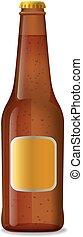 cerveza, marrón, botella