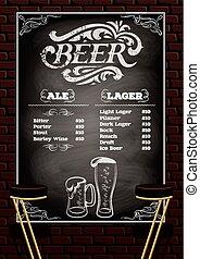 cerveza, menú, en, el, pared ladrillo, plano de fondo