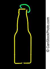 cerveza, neón, botella, señal