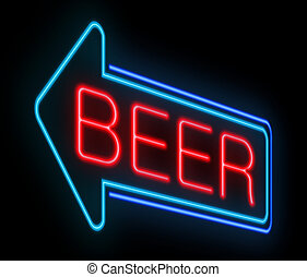cerveza, neón, signo.