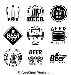 cerveza, negro, emblemas
