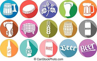 cerveza, plano, iconos, colección