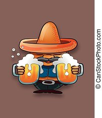 cerveza, sombrero, tarros, hombre gordo