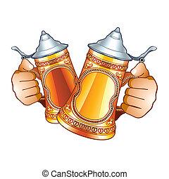 cerveza, steins
