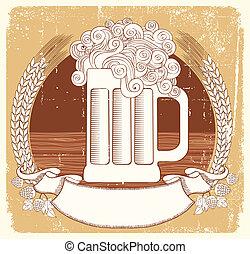 cerveza, symbol.vector, vendimia, gráfico, ilustración, de,...