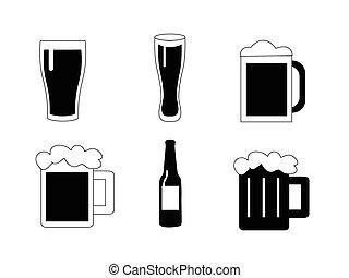 cerveza, vector, conjunto, iconos