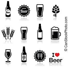 cerveza, vector, iconos, conjunto