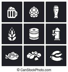 cerveza, vector, illustration., icons., aperitivo