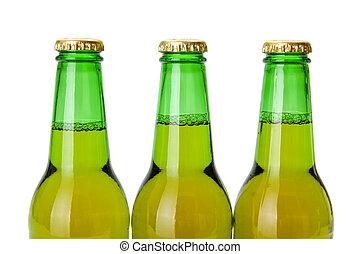 cerveza verde, botella, cuellos
