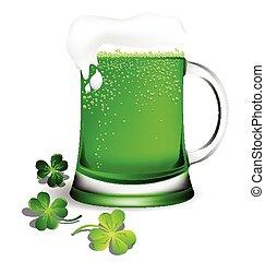 cerveza, verde, cristalería
