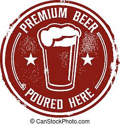cerveza, vertido, prima, aquí