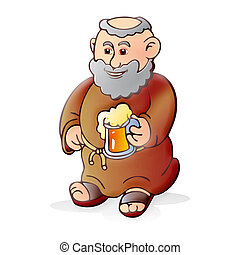 cerveza, viejo, monje