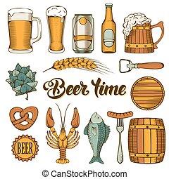 cerveza, y, bocado