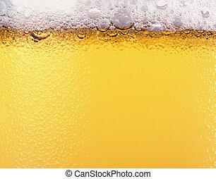 cerveza, y, cerveza, foam., textura