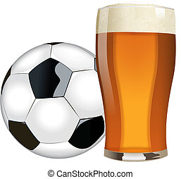 cerveza, y, fútbol