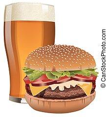 cerveza, y, hamburguesa