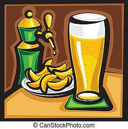 cerveza, y, pedacitos