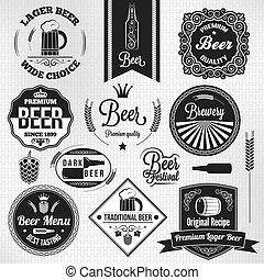 cervezadorada, vendimia, cerveza, conjunto, etiquetas