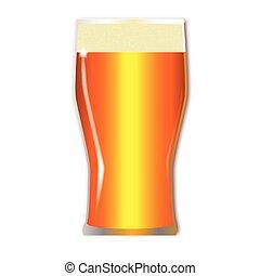 cervezadorada, vidrio, pinta