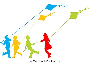 cervi volanti, gioco, colorato, silhouette, bambini