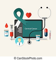 cervical cancer cervic medical teal white ribbon treatment health disease