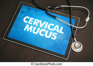 Cervical mucus (menstrual cycle related) diagnosis medical concept on tablet screen with stethoscope.