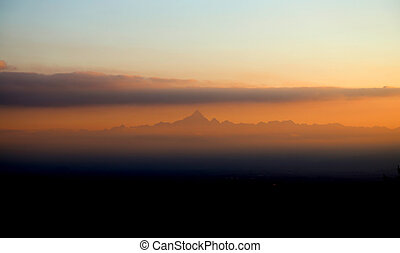 Cervino Mountain in Northern Italy at sunrise