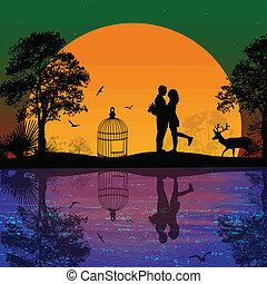 cervo, amanti, tramonto