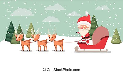 cervo, carrello, claus, snowscape, santa