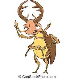 cervo, cartone animato, scarabeo