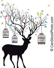 cervo, con, uccelli, e, birdcages, vect