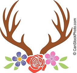 cervo, fiori, corna
