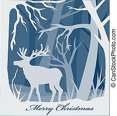 cervo, foresta, carta natale, scheda, illustrazione