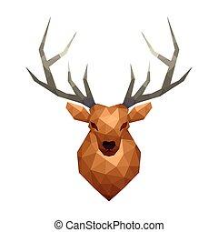 cervo, isolato, poly, vettore, basso, bianco