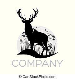cervo, logotipo, moderno