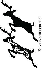 cervo, saltare, silhouette