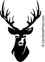 cervo, testa, silhouette