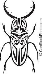 cervo, tribale, vettore, scarabeo, tatuaggio