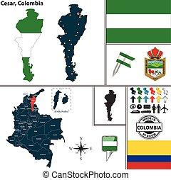 cesar, karta, colombia