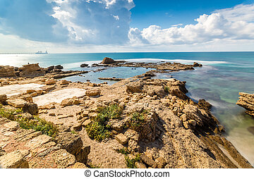 Cesarea National Park, Israel - Ruins of ancient Cesarea...