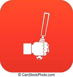 cesello, attrezzo, in, uomo, hend, icona, digitale, rosso