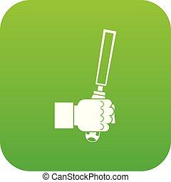 cesello, attrezzo, in, uomo, hend, icona, digitale, verde