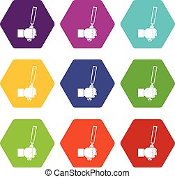 cesello, attrezzo, in, uomo, hend, icona, set, colorare, hexahedron