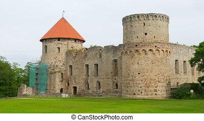 """Cesis castle, northern latvia, timelapse, zoom in, 4k"""