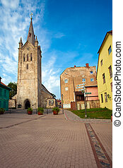 Cesis, Latvia - The street in Cesis city with cathedral...