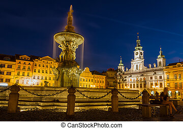 Ceske budejovice city, Czech republic - Namesti Premysla Otakara II. Samson statue with town hall at night