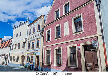 CESKE BUDEJOVICE, CZECH REPUBLIC - JUNE 14, 2016: Traditional houses in Ceske Budejovice.