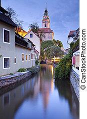 Image of old Czech town- Cesky Krumlov at twilight.