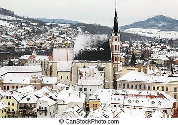 Cesky Krumlov city lansdcape vew in Winter