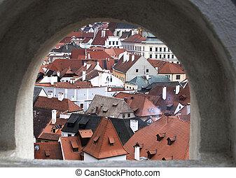 Cesky Krumlov from loop-hole from castle wall